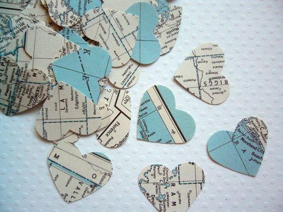 Wedding Decor - Vintage Atlas Heart Confetti