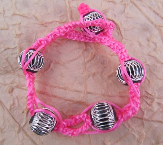 Neon Pink Macrame Bracelet with Black and by SerendipityFinch, £6.00