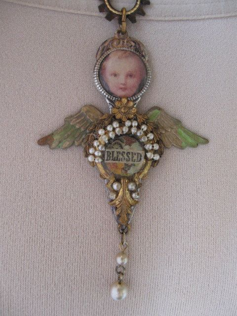 vintage repurposed mixed media angel necklace