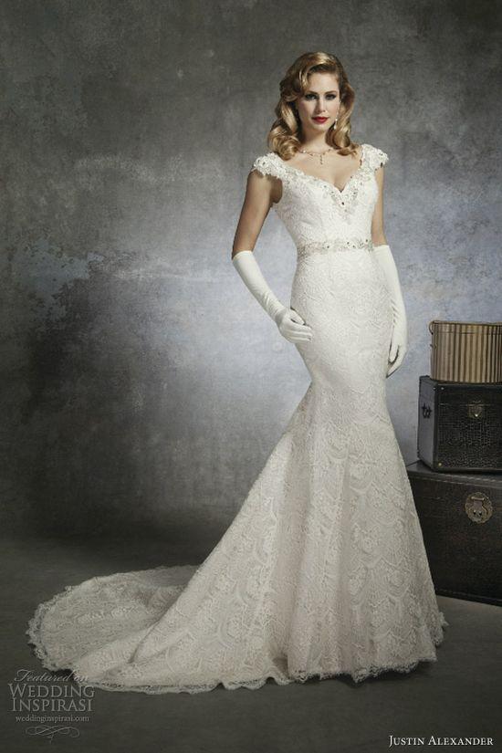 justin alexander bridal spring 2013 wedding dress style 8654 cap sleeve venice lace mermaid gown