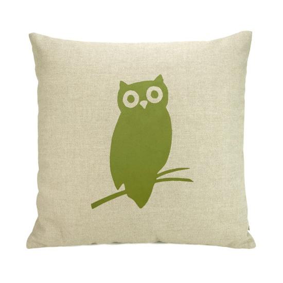 Owl pillow case  Apple green owl