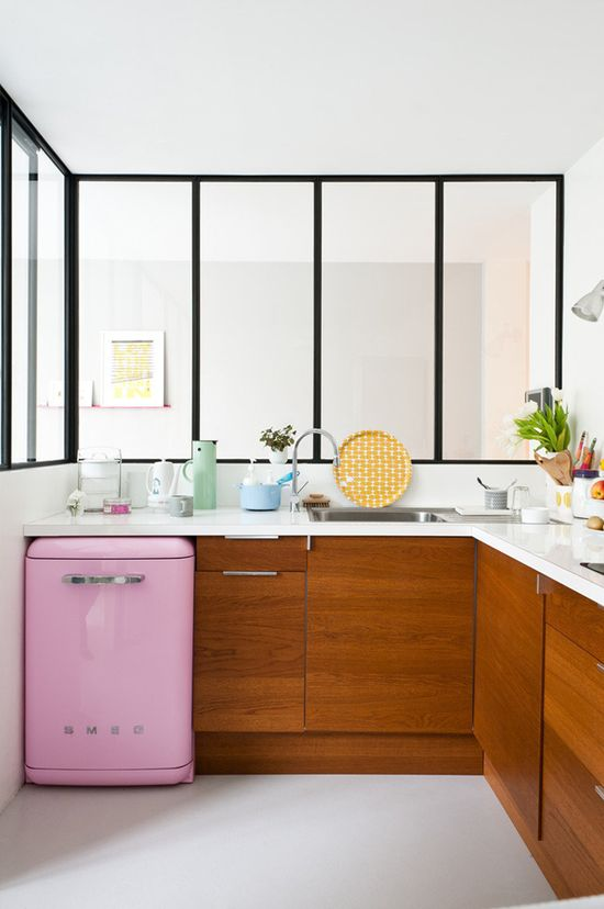 jolie cuisine #bois #rose #pink #interior #cuisine #kitchen