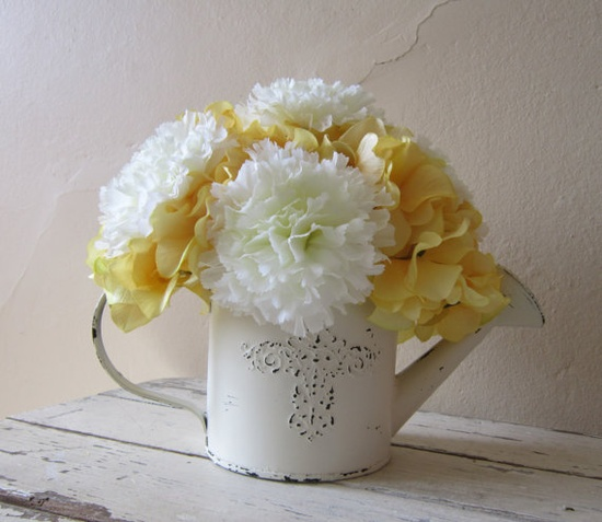 MOTHER'S DAY  Spring Silk Flower Arrangement - White carnations and yellow hydrangeas - LOVE this!!