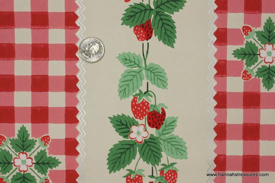 1940's Vintage Wallpaper strawberry and gingham check.
