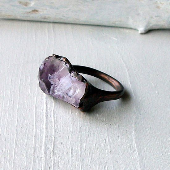 Raw Amethyst and Copper Ring (need in gold!)
