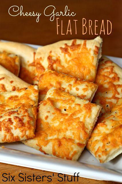 Cheesy Garlic Flat Bread from SixSistersStuff.com #bread #easy