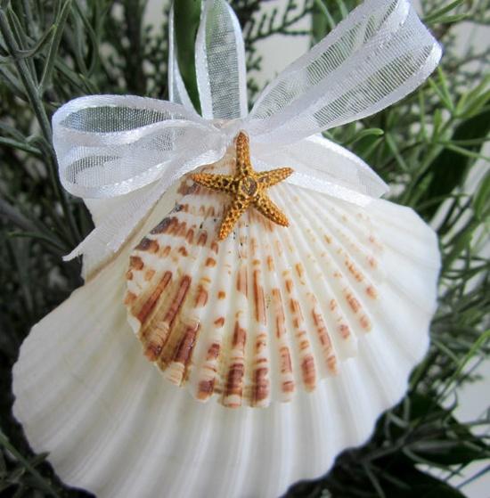 Beach Decor Seashell Christmas Ornament  by beachgrasscottage, $14.00