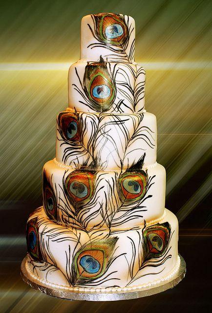 Peacock print wedding cake