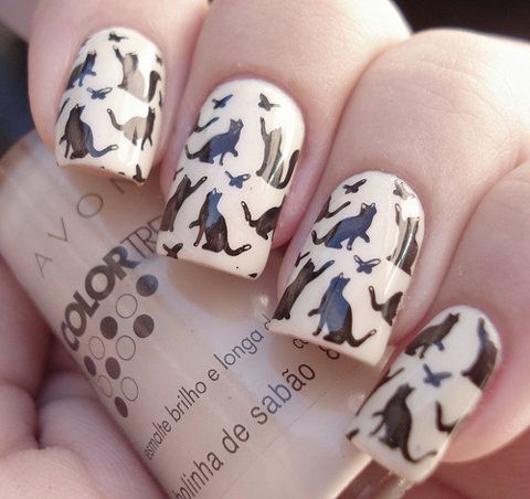 Cat lady nails! I love this!