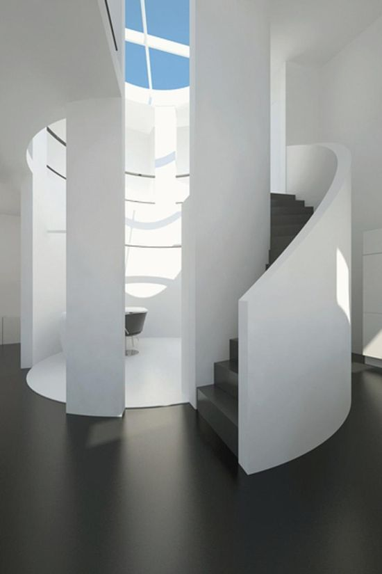 Circle Stairs in Modern Apartment Design