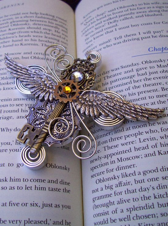 Steampunk Aviator Medal/Brooch (A50-2) - Silver Wings and Antique Brass Key - Swarovski Crystals $36 #etsy #steampun #brooch #jewelry