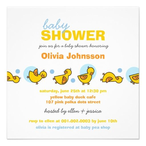 Cartoon Silly Duckies Baby Boy Shower Invitation
