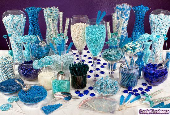 Blue candy buffet.
