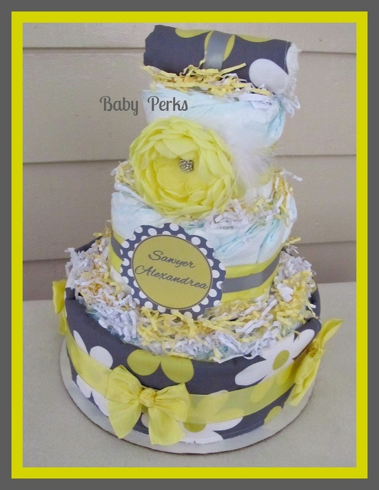 Yellow And Grey Flower Diaper Cake , Yellow And Grey Baby Shower , Baby Shower Diaper Cake,Baby Shower Decorations. $89.00, via Etsy.