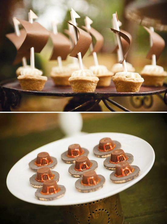 Rustic Backyard Kids' Thanksgiving - Chocolate Pilgrim Hats and Mini Pie Mayflower Ships