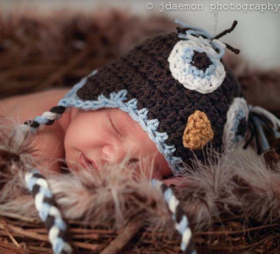 newborn photography prop wide awake owl hat graphite light blue mustard white baby boy baby girl