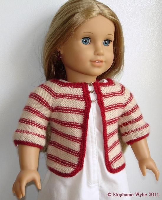 "Matilda Cardigan knitting pattern for 18"" American Girl dolls"