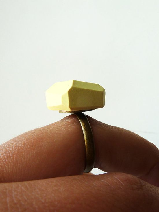 pale yellow geo ring on brass