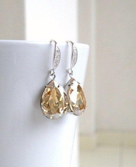 Swarovski Champagne Golden Shadow Foiled Pear Stone by SomsStudio, $30.00