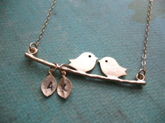LOVE Birds Necklace Personalized Gold Filled by BlueDoveStudio, $33.00