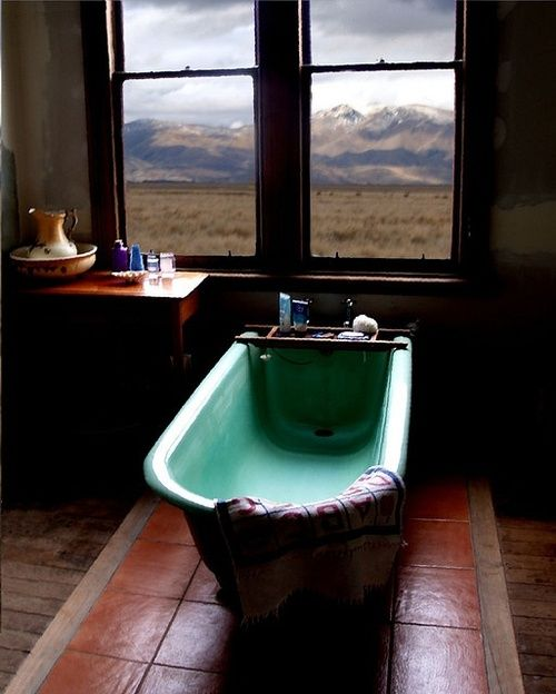 Country bathroom with a pop of color