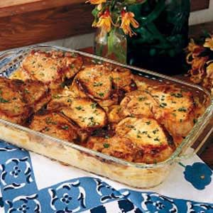 Pork Chops with Scalloped Potatoes ~ I made this tonight for dinner and it was ah-mazingly delicious!