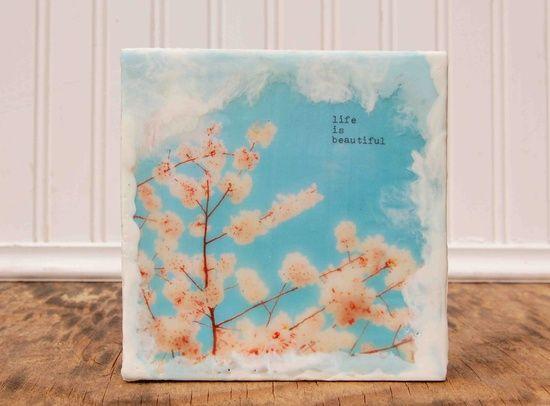life is beautiful Original Encaustic Photo Painting Vintage Style Romantic Spring Blossoms. $30.00, via