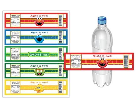 Sesame Street custom bottle labels