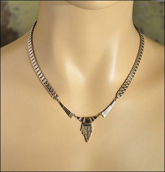 Art Deco Necklace Silver Bookchain Tassel Chevron by boylerpf