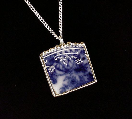 Broken China Jewelry Pendant antique Flow Blue china by dishfunctionldesigns