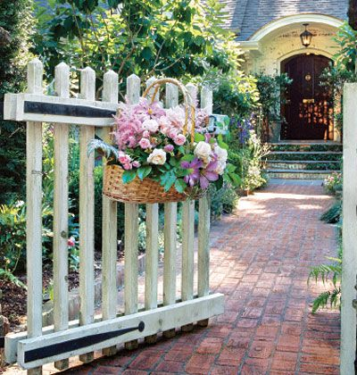 Welcome! #garden #gate #basket #flowers #entrance