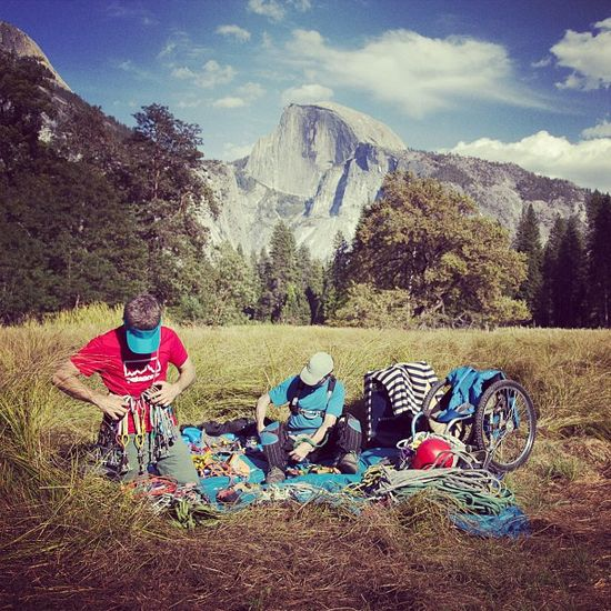 @timmyoneill and his paraplegic brother Sean preparing to climb Half Dome. Follow @justinbastien and #pullhalfdome for updates (Taken with Instagram)