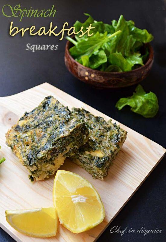 Spinach breakfast squares, healthy breakfast idea
