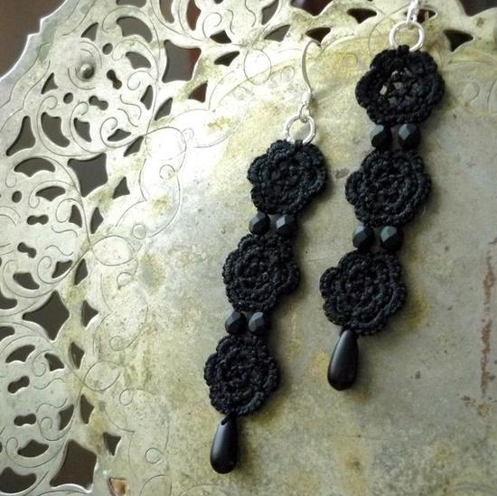 Black tatted earrings