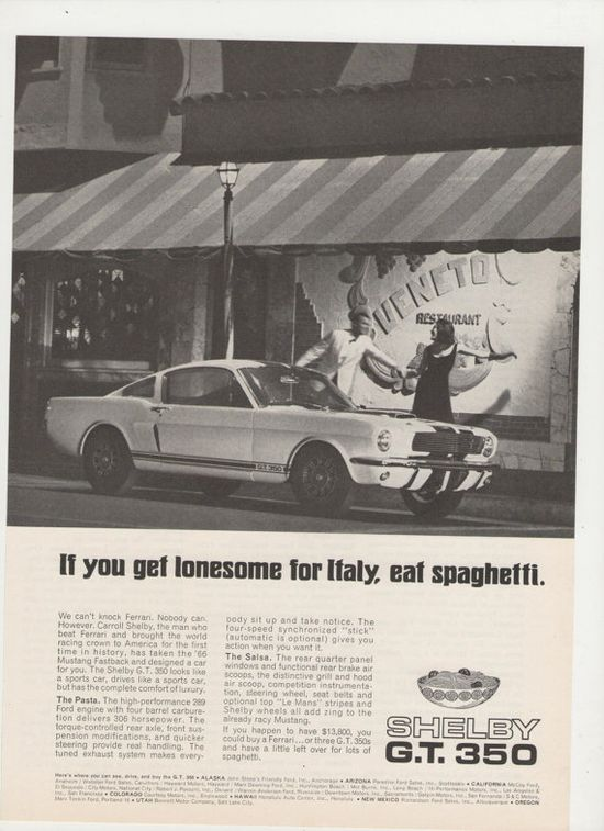 =-=1966 Shelby GT 350  Advertisement Cobra Ford American Muscle Sports Car 60s
