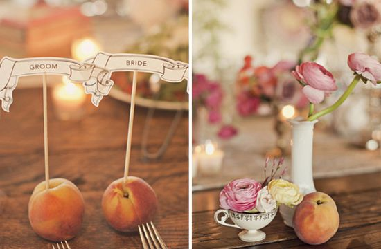 Love the peaches as seating markers!