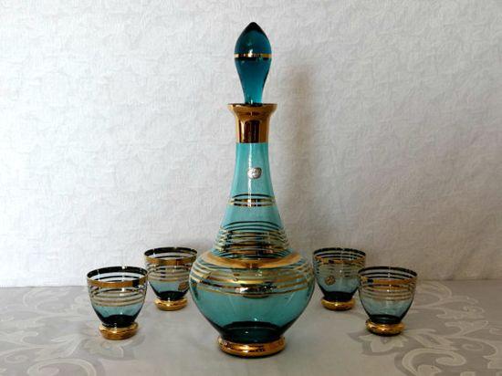 Vintage Bohemian Czechoslovakian Glass Decanter and 5 Cordial/Shot Glasses Set, Vintage Barware, Mad Men Decanter Set, Mid Century Barware