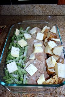 SIMPLE! Green Beans, Chicken & Potatoes  1. Line one side of the pan with green beans.  2. Line opposite side of pan with the potatoes.  3. Line the chicken breasts down the middle of the baking dish.  4. Cut butter up and layer over the green beans, potatoes and chicken. 5.Sprinkle Italian dressing over the entire pan. Cover with foil cook at 350 for 1 hr.