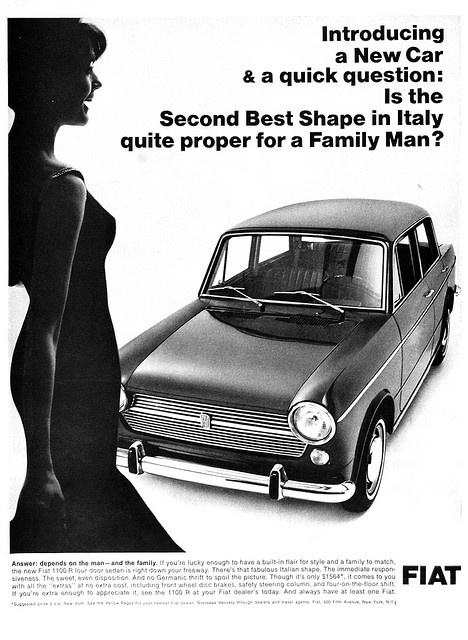 "Fiant ad - ""Introducing a New Car & a quick question: Is the Second Best Shape in Italy quite proper for a Family Man?"""