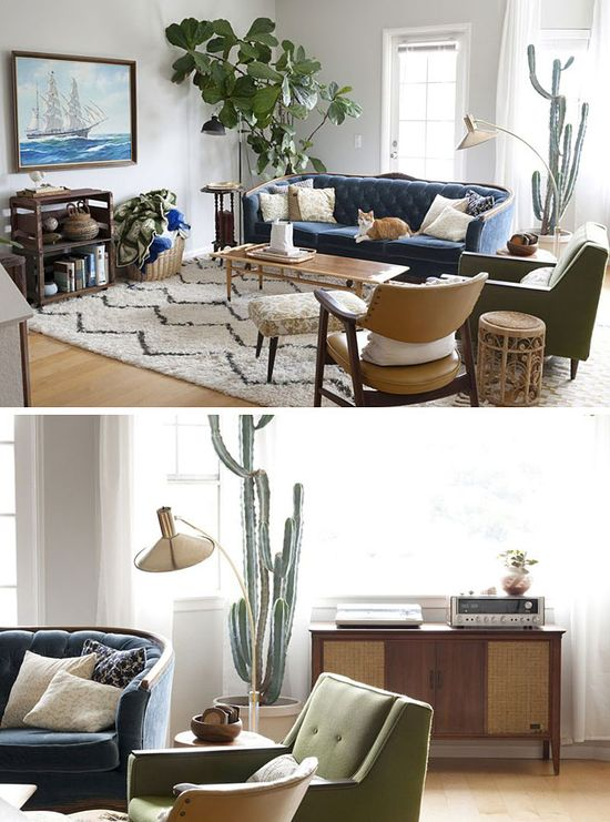 nice mix of vintage furniture and decor #interiors #decor