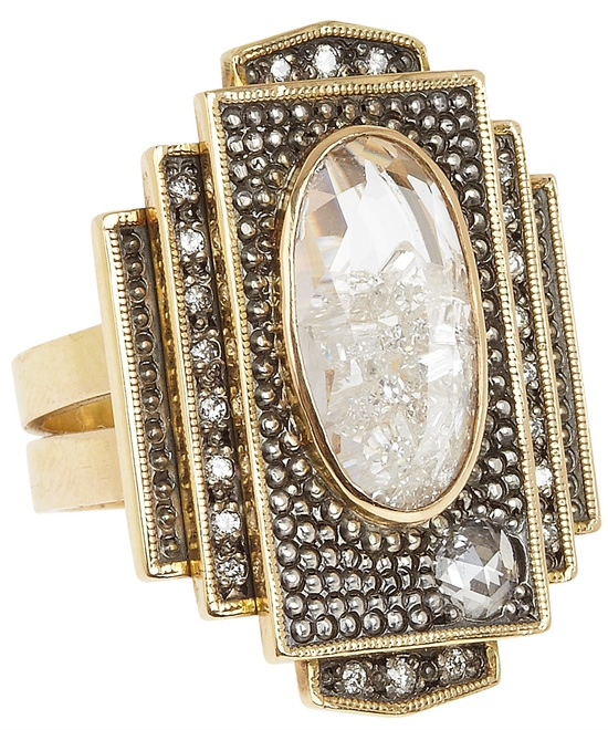 art deco ring moritz glik s/s2012 liberty london: Elaborate sqaure ring featuring 0.89 carat of brilliant cut diamonds set and enclosed in double white sapphires and 0.2 carat rose cut diamonds in 18 carat yellow gold and blackened silver.