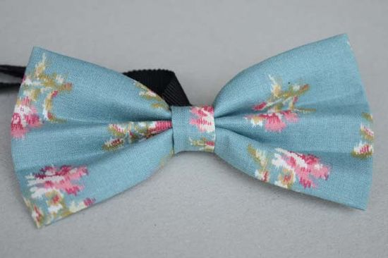 blue floral bowtie pretied handmade bow tiemens by bysunny2012, $8.00