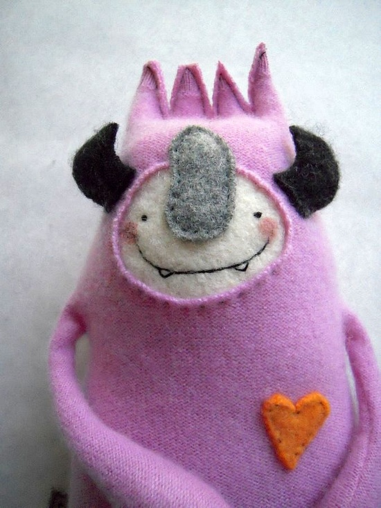 Stuffed Animal Monster from Upcycled Pink Cashmere Sweater.