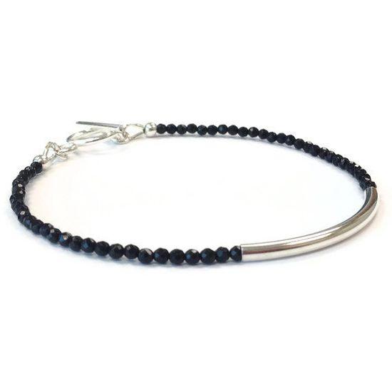 Black Bracelet Sterling Silver Jewelry Onyx by jewelrybycarmal, $25.00