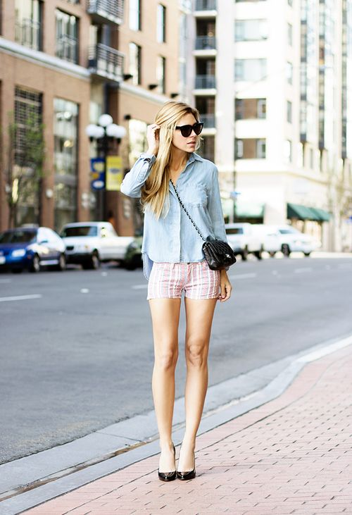 shorts with chambray