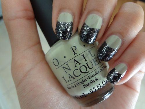 half moon glitter nails