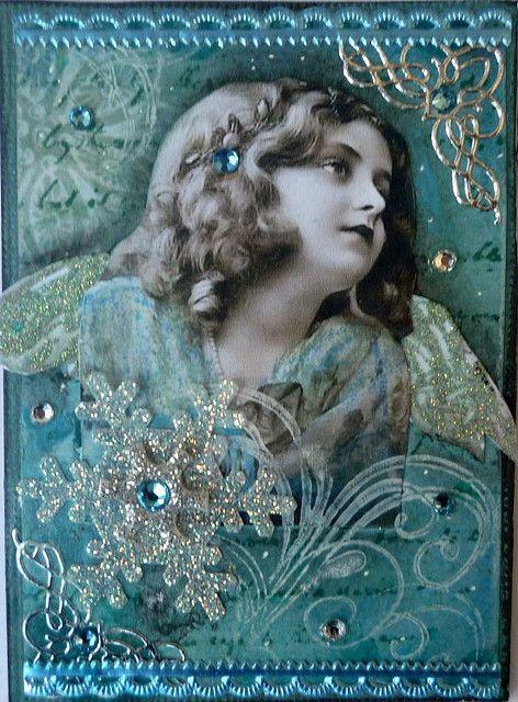 Blue Christmas Angel, swap by butterflie1, via Flickr