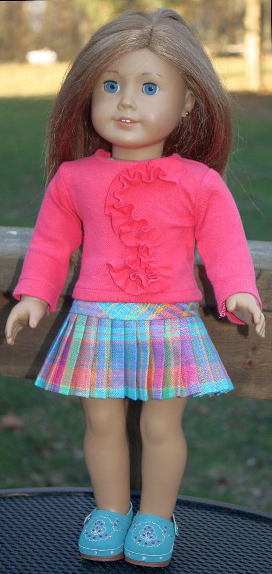 top + pleated plaid skirt for American Girl Dolls made with Liberty Patterns