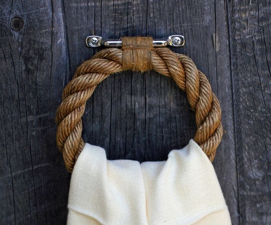 Nautical rope towel ring..how cute is this?