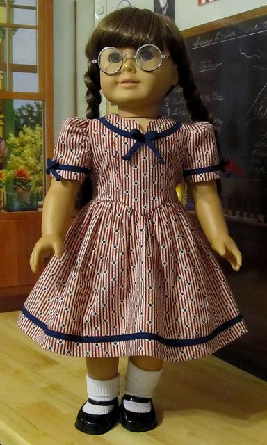 Red,White,Blue 1940s Patriotic Frock made for American Girl Doll Molly or Emily
